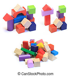 stack and abstract houses made from colorful wooden building...