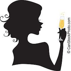 silhouette, ragazza, presa a terra, champagne, vetro