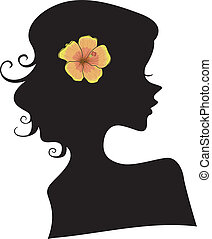 Silhouette of Girl with Hibiscus Flower on Hair