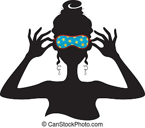 Silhouette of a Girl Wearing a Sleeping Mask - Illustration...