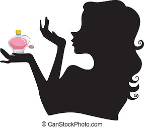 Silhouette of Girl with Perfume - Illustration of a Girl's...