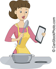 Lady with Tablet while Cooking - Illustration of a Lady...