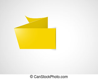 blank ribbon - Blank yellow origami style label ready for...