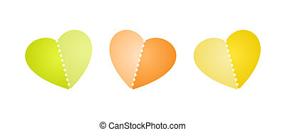 heart with perforation - Set of three blank heart shapes...