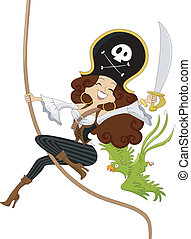 Girl Pirate swinging on a Rope - Illustration of a Sexy...
