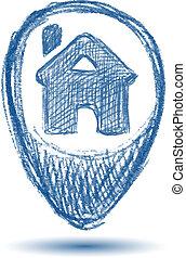 home pointer icon on a white