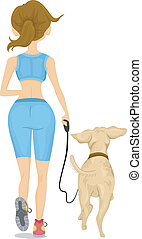 Back View of a Girl Jogging with Dog - Illustration showing...