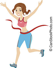 Girl Marathon Runner Reached Finish Line Ribbon
