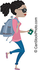 Girl Traveling with Backpack