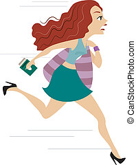 Girl running Late for Flight 1 - Illustration of a Girl...