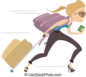 Girl running Late for Flight 2 - Illustration of a Girl...
