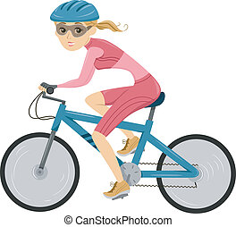 Girl Cycling for Triathlon - Illustration of a Girl riding a...