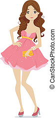 Teenage Prom Girl - Illustration of a Teenage Girl dressed...