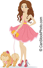Prom Queen with Pet Dog - Illustration of a Prom Queen with...