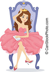Prom Queen on her Throne - Illustration of a Crowned Prom...