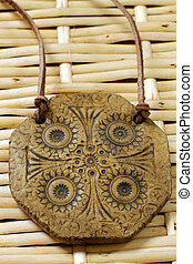 clay amulet - clay handmade magic amulet with pattern