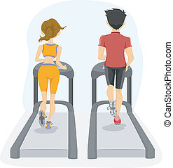 Back View of Couple on a Treadmill - Illustration showing...