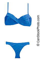 Crossed frills blue bikini isolated on white background...
