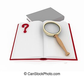 3d render illustration open book with aquestion mark and magnifying glass