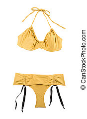 Golden metallized halter bikini with bows isolated on whote...