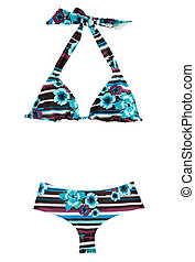 Halter stripes and flowers bikini isolated on white...