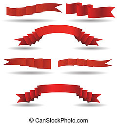 set of red banners - colorful illustration with red banners...