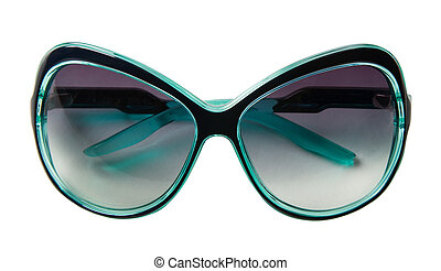 Turquoise rimmed vintage sunglasses, isolated on white...