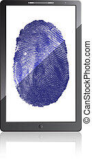 Mobile phone with fingerprint on a white background