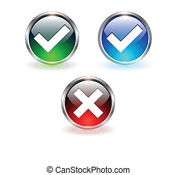 Accept and negate icons - Accept and negate, yes no icons