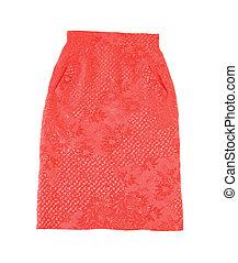bordado, rojo, tubo, falda