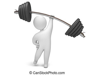 Barbell 3d render - Man lifting barbell with one hand, on a...
