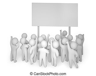 3d render crowd billboard - A crowd gathered near a...