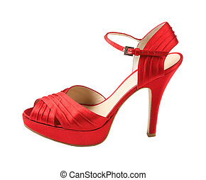 Red leather peep toe stilettos isolated on white background....