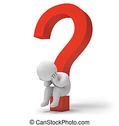 3d render question marks - Man sitting on a question mark,...