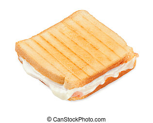 Toasted sandwich with ham and cheese on white background