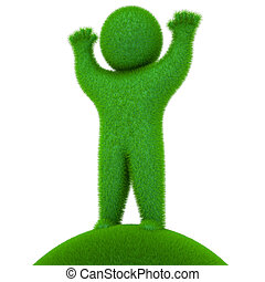 Sprout, man, 3d render - Green , grassy, on a white...