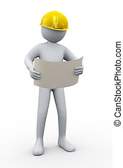 3d professional construction contractor - 3d illustration of...
