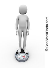 3d person on weighing machine - 3d illustration of man on...