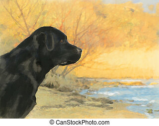 oil painting portrait of black labrador in autumn - oil...