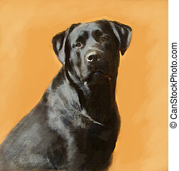oil painting portrait of black labrador male - oil painting...