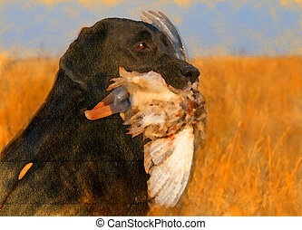 oil painting portrait of black labrador with duck - oil...