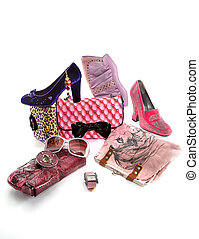 Pink fashion composition on white background