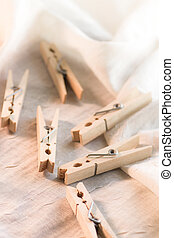 Clothespins on fabric