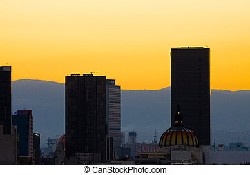 Mexico City Sunset - Sunset over skyscrapers in Mexico City
