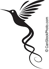 Hummingbird Tattoo - Hummingbird tattoo isolated on white...