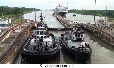 Ships waiting in front Gatun Lock Panama Canal