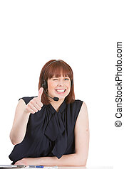 Woman wearing a headset giving a thumbs up - Playful...