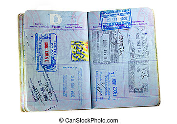 US Passport on White - Inside pages and stamps of a well...