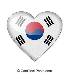South Korea flag in heart shape isolated on white background