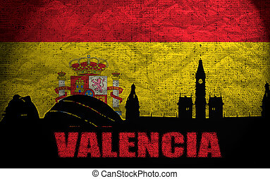 View of Valencia on the Grunge Spanish Flag